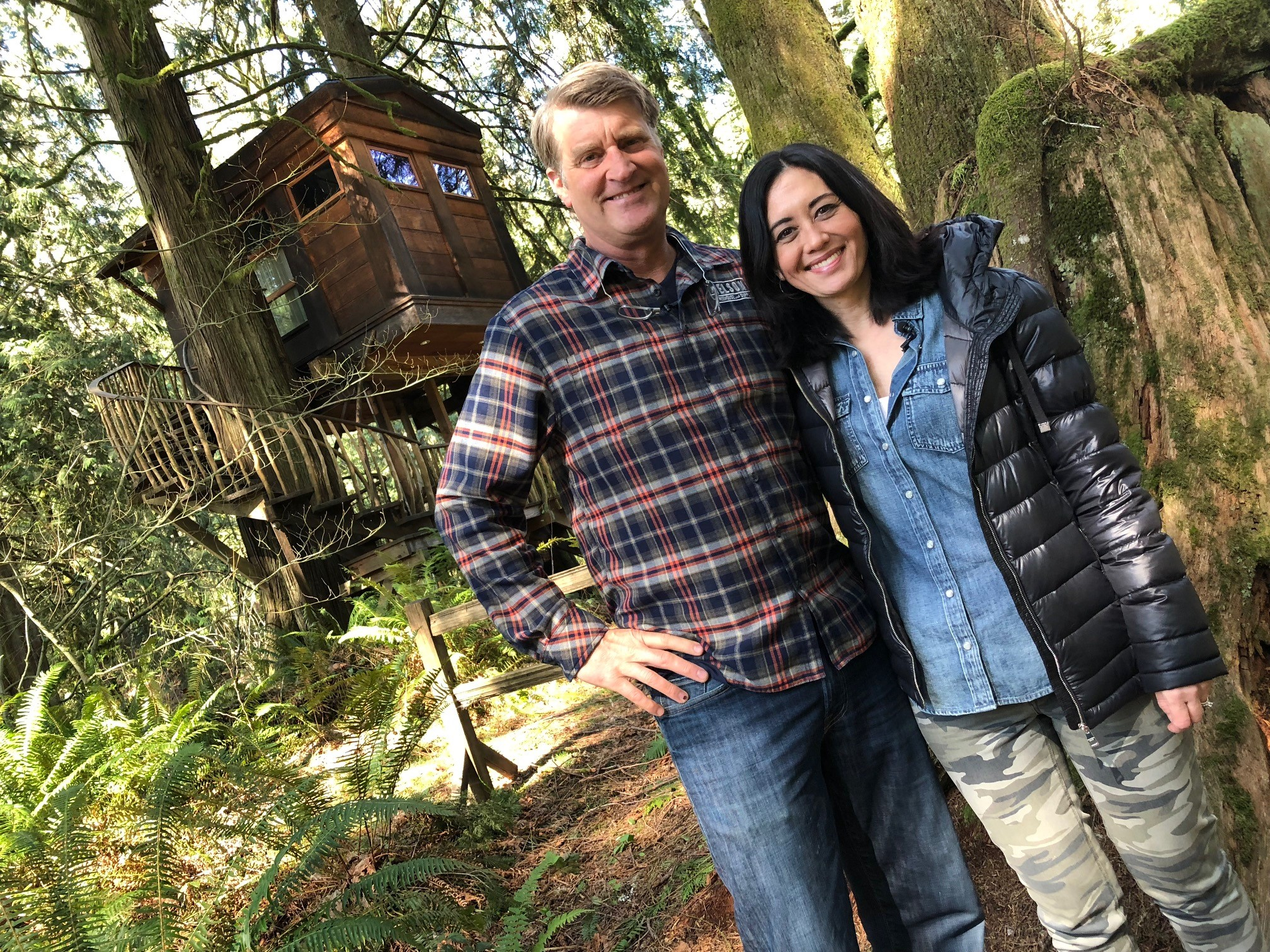 Pete Nelson and Malia Karlinsky. Nelson is a Master Treehouse Builder and star of the TV show Treehouse Masters. He has created special spots for people among the trees at Treehouse Point, 25 miles east of Seattle. (Photo Credit Seattle Refined)
