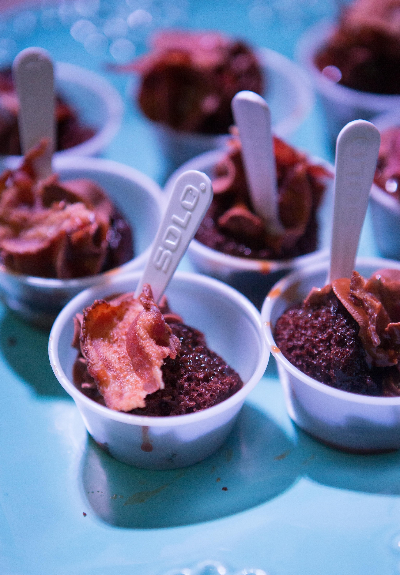 Hollywood Baked Goods' deconstructed chocolate cupcakes infused with bourbon, bacon, and bourbon-caramel glaze, at the Bourbon & Bacon Fest in SODO. (Sy Bean / Seattle Refined)