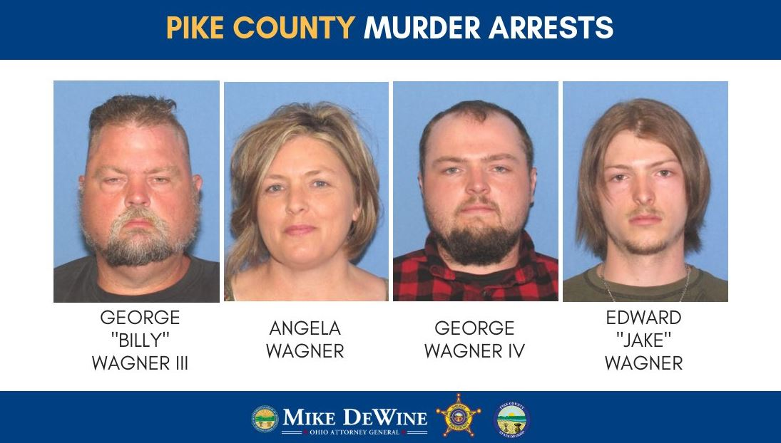"George ""Billy"" Wagner III, 47, Angela Wagner, 48, George Wagner IV, 27, and Edward ""Jake"" Wagner, 26 were all charged with planning and carrying out the murders of eight Rhoden family members. (Courtesy: Ohio AG)"