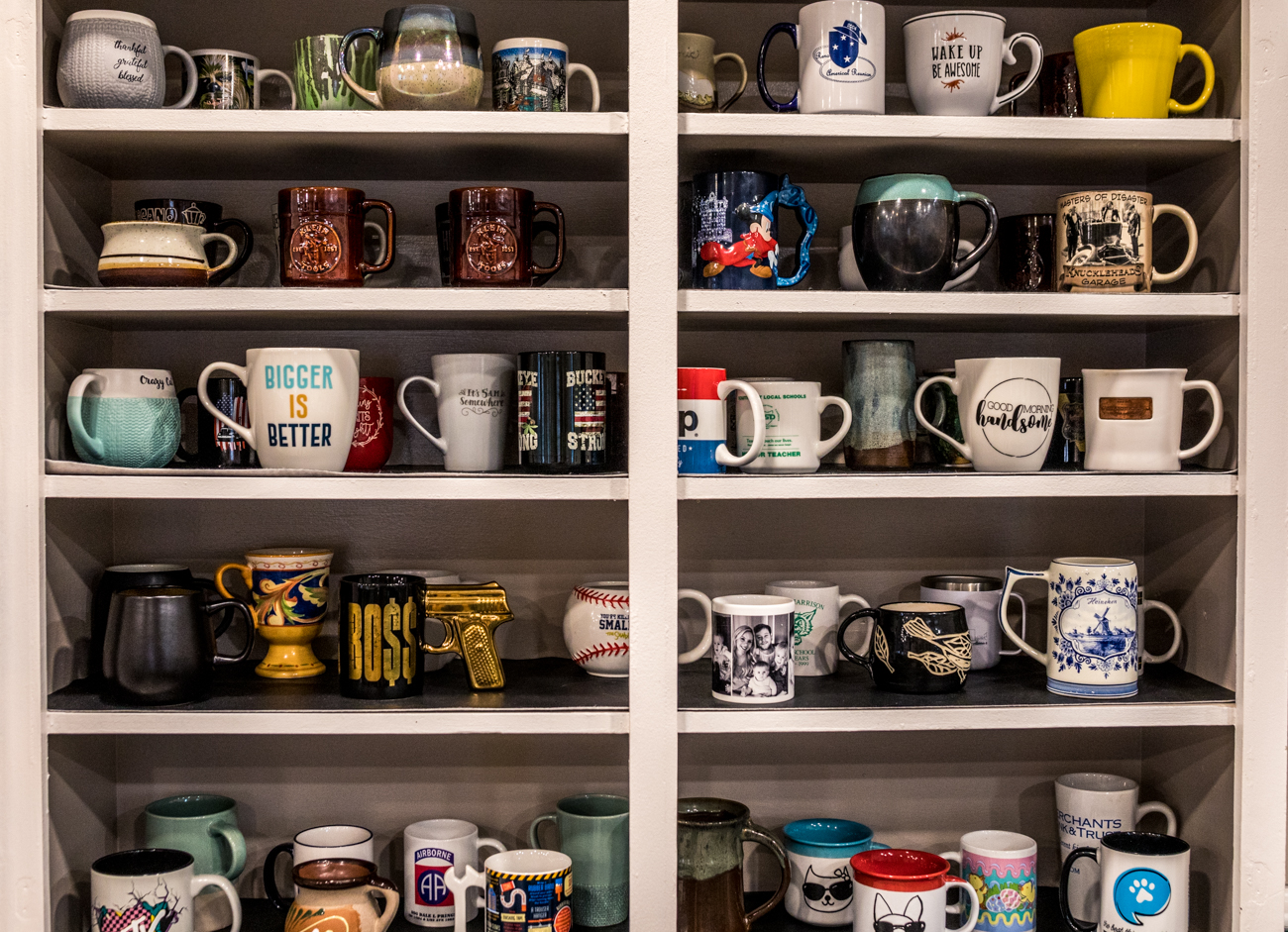 "The ""regulars"" mug shelf / Image: Catherine Viox // Published: 2.1.21"