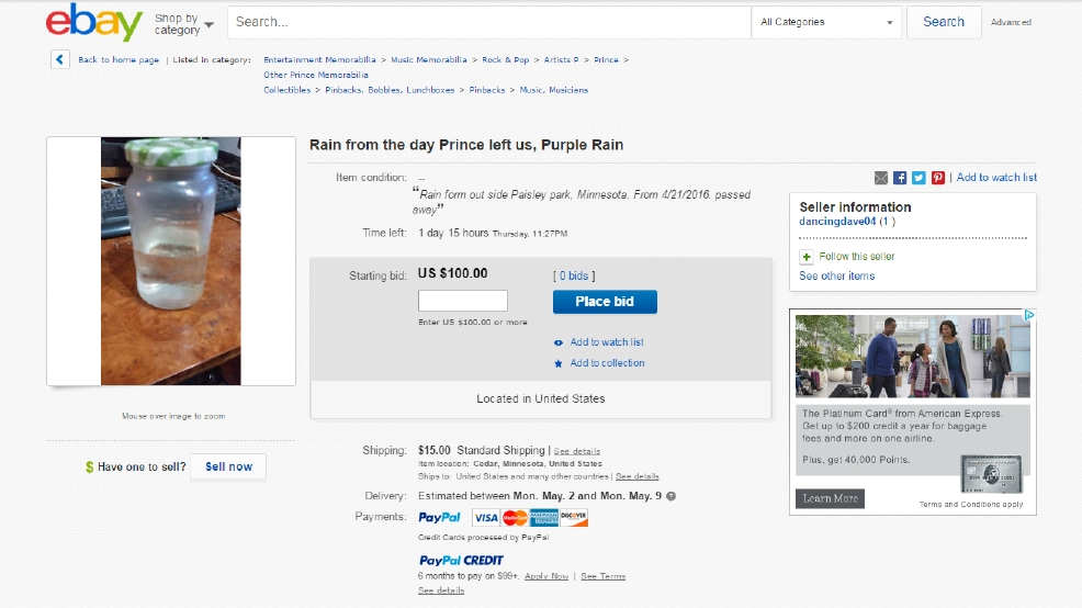 eBay user attempts to sell rainwater from the day Prince died