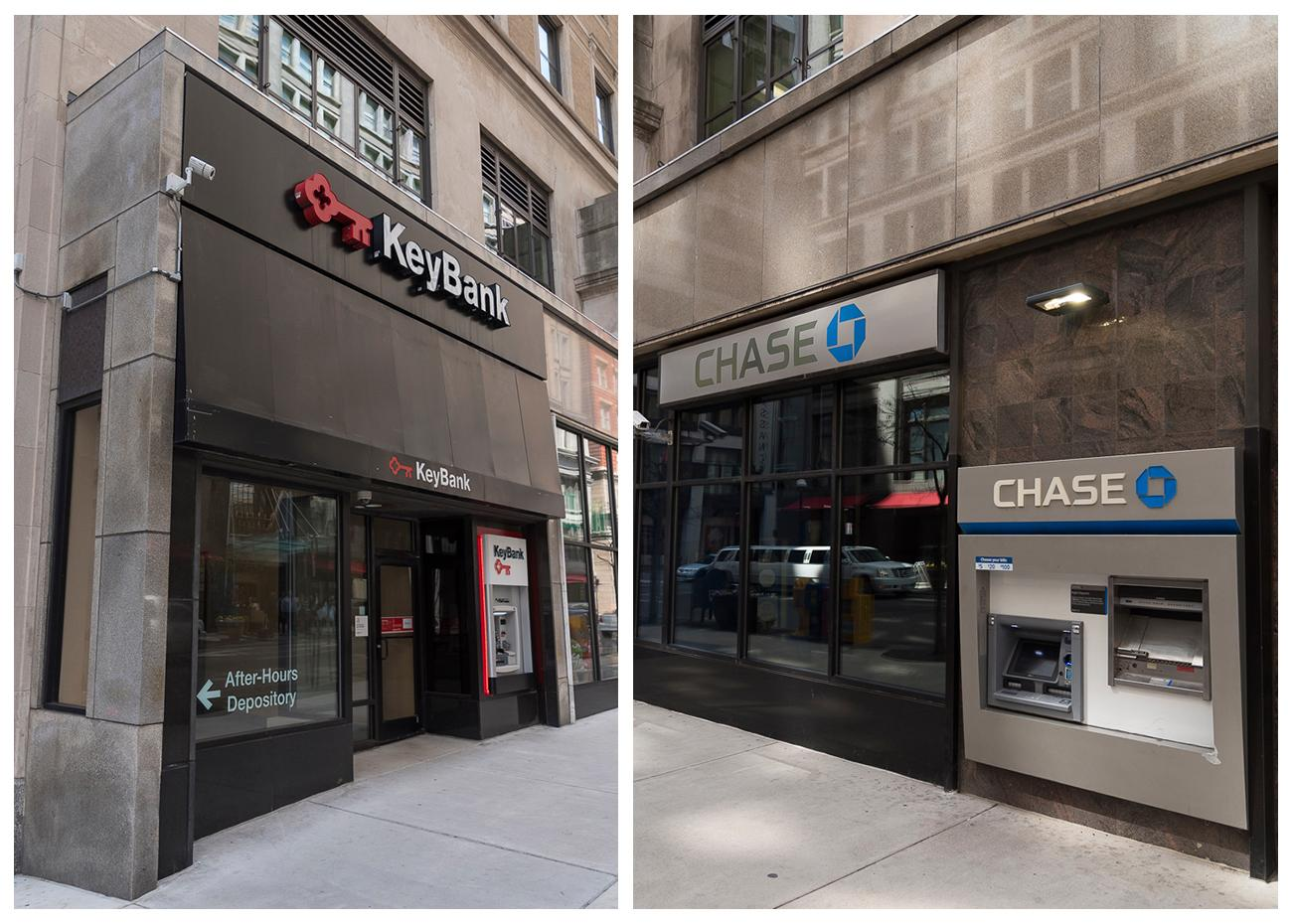 4th Street has multiple banks: two of which are Key Bank and Chase Bank / ADDRESSES: 53 E 4th Street & 45 E 4th Street / Images: Phil Armstrong, Cincinnati Refined // Published: 4.23.18