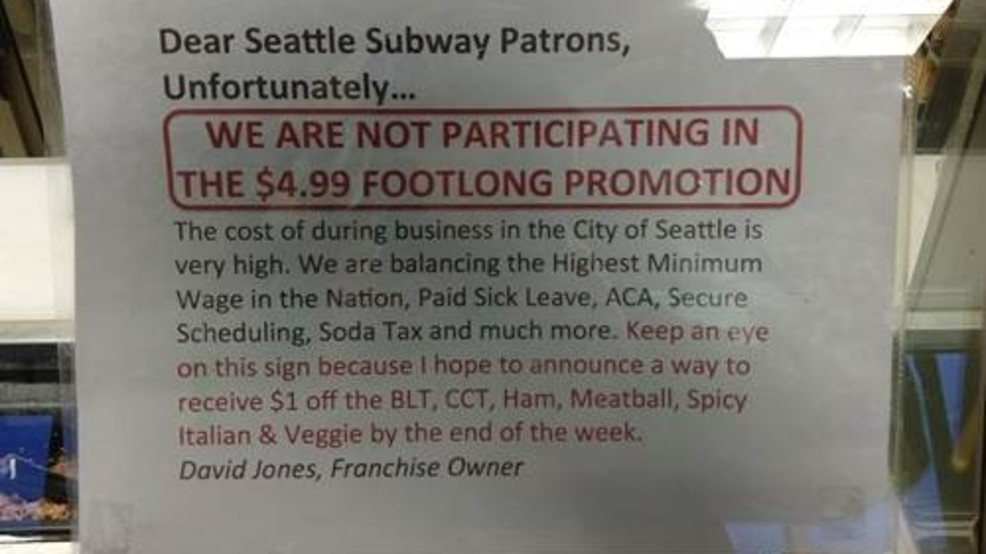 Seattle fast food restaurant notifies customers of higher prices