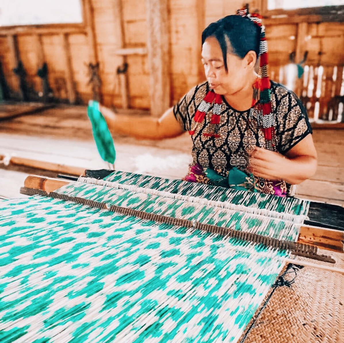 The T'boli weavers create gorgeous material that Clare features in her designs. (Image: Clare Hynes)