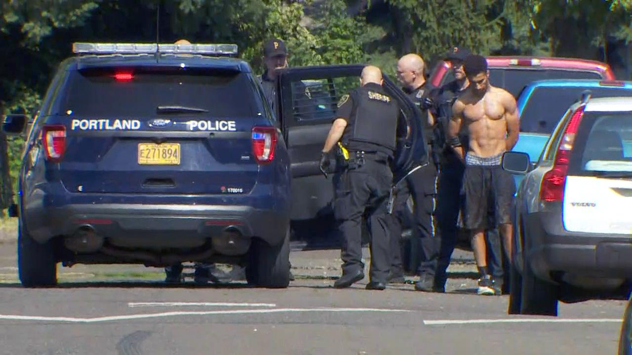 Police take a hit-and-run suspect into custody Monday, July 8, 2019 after a crash at Southeast 148th Avenue and Powell Boulevard left one person dead and several injured. (KATU Photo)