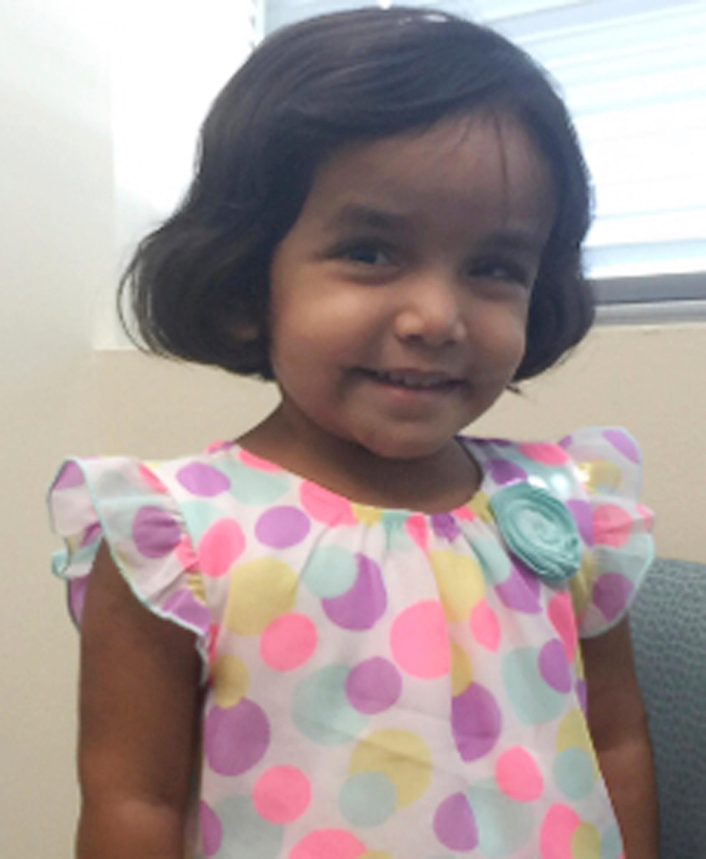 FILE- This undated photo provided by the Richardson Texas Police Department shows 3-year-old Sherin Mathews. (Richardson Texas Police Department via AP)