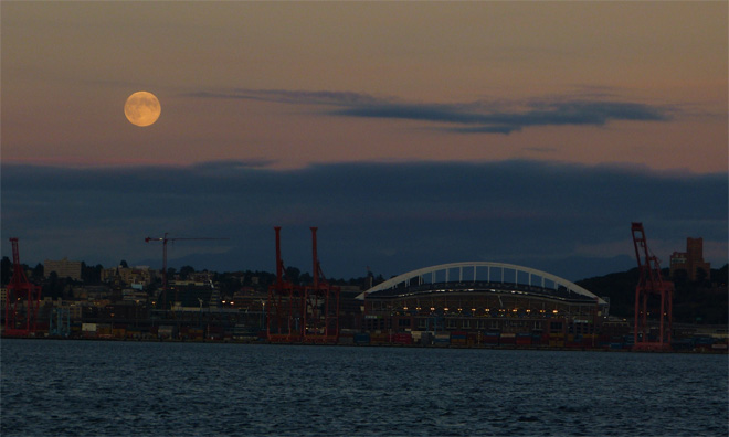 """Harvest Moon over Century Link Field"" by YouNews contributor troxa41622511086 in West Seattle."