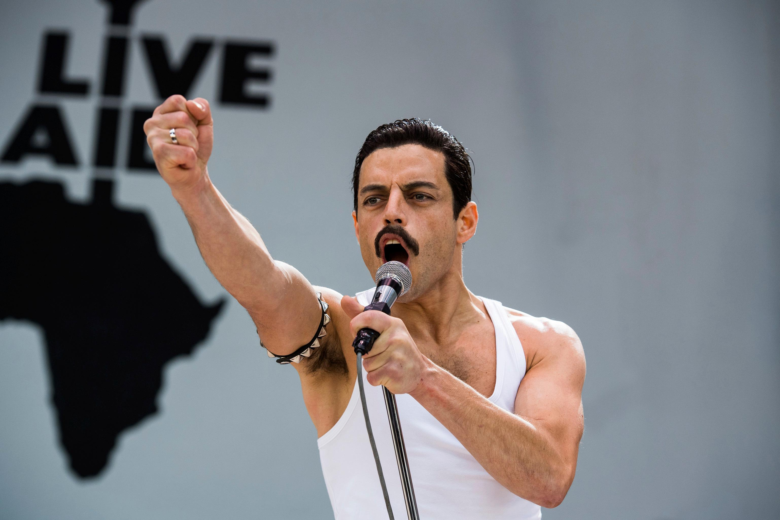 "This image released by Twentieth Century Fox shows Rami Malek in a scene from ""Bohemian Rhapsody."" (Alex Bailey/Twentieth Century Fox via AP)"