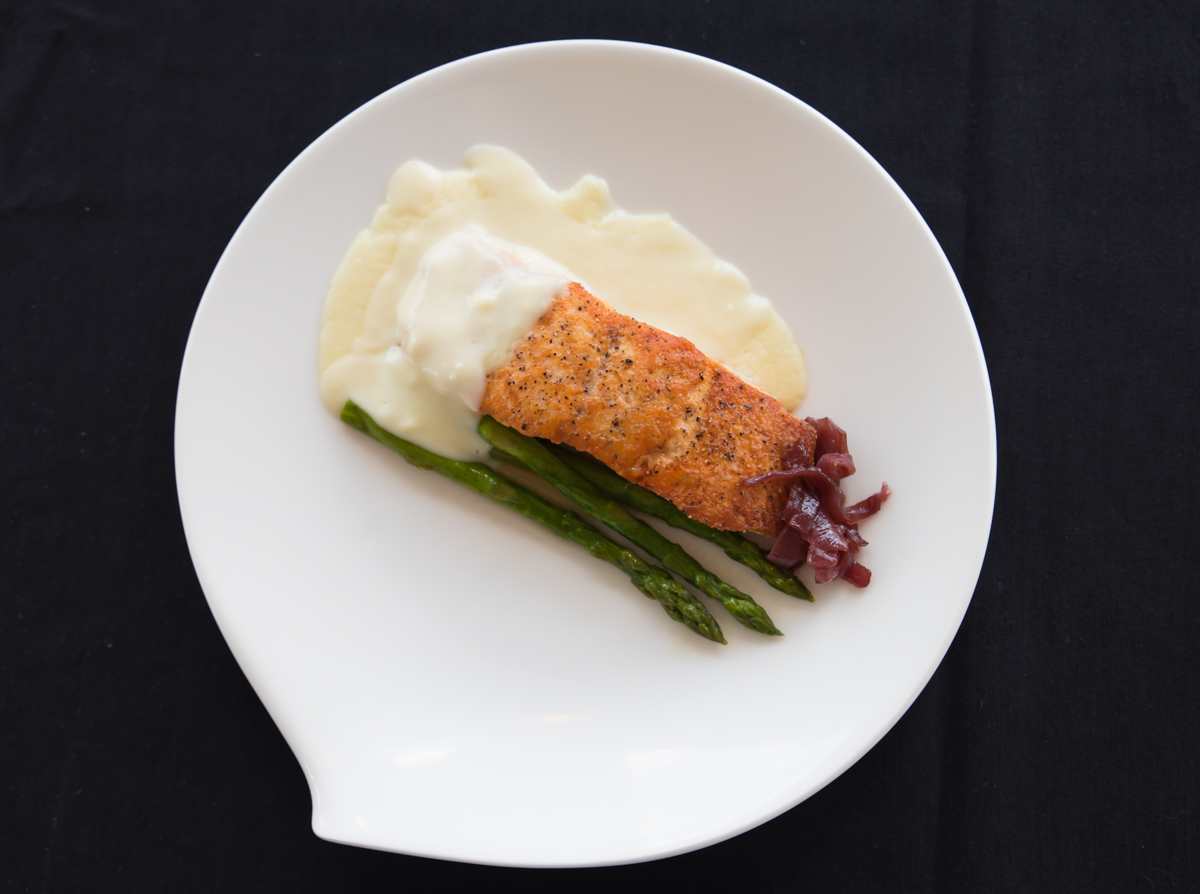 Atlantic salmon with lemon mornay, red onion, jam, basil and asparagus / Image: Sherry Lachelle Photography // Published: 8.22.17