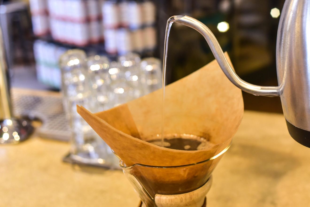 The actual contraption you'll need to brew a cup of pour over coffee is nothing more than a cone-shaped filter (either metal mesh or paper) set over some kind of heatproof container. (Image: Courtesy Compass Coffee)