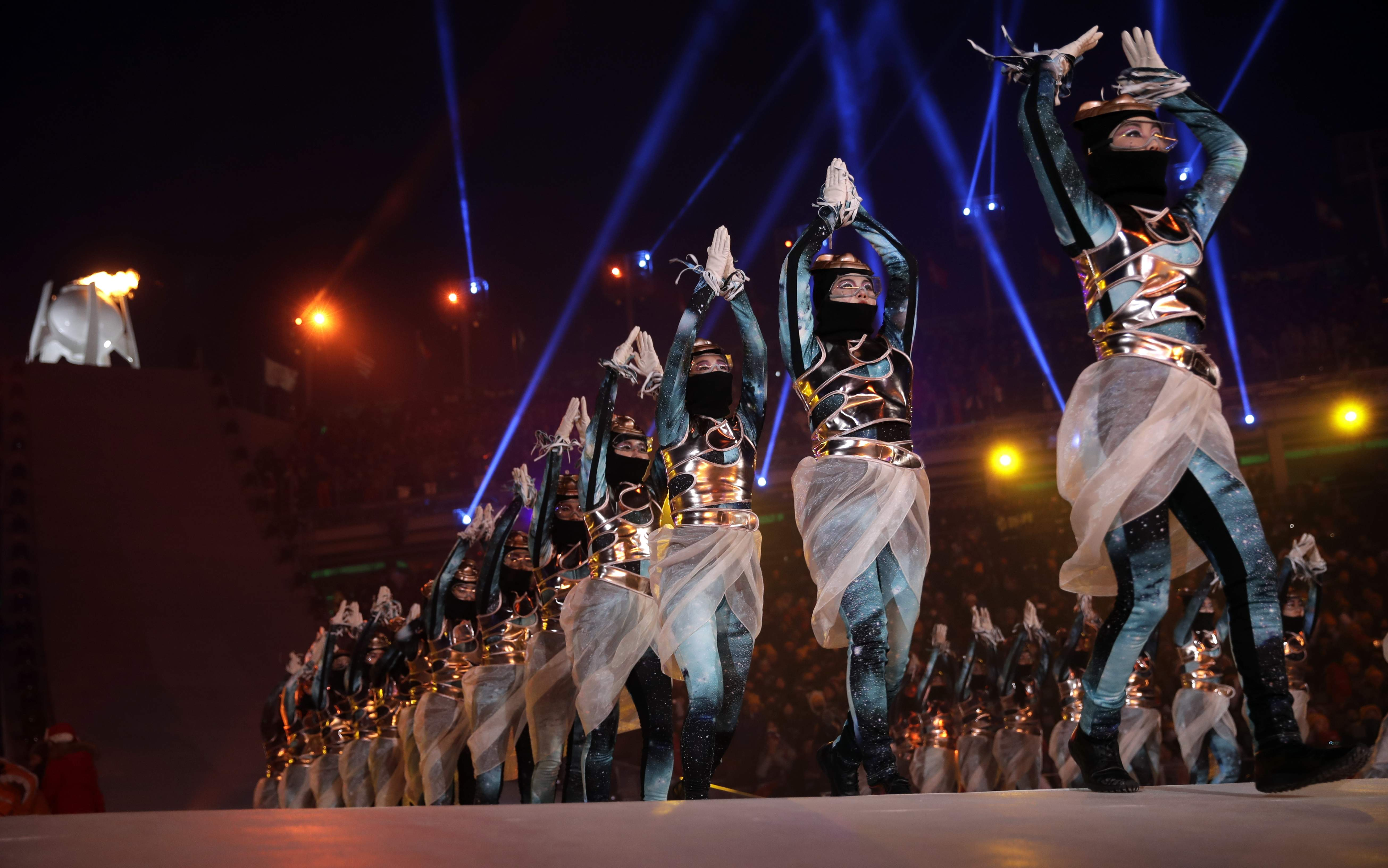 Dancers perform at the end of the opening ceremony of the 2018 Winter Olympics in Pyeongchang, South Korea, Friday, Feb. 9, 2018. (AP Photo/Vadim Ghirda)