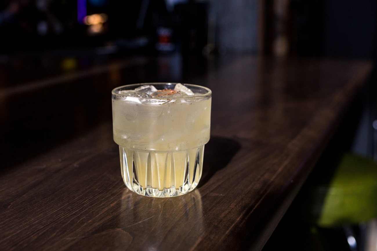 Curious George: Sotol Por Simper, tequila, house pineapple ginger tepatche, Giffards banana, and espresso cacao salt / Image: Catherine Viox // Published: 4.7.19