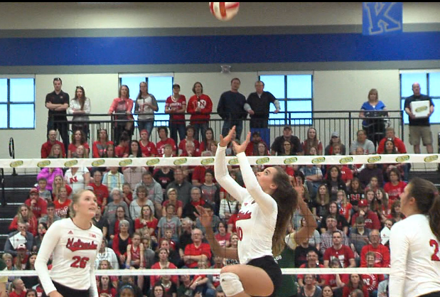 Nebraska setter Hunter Atherton (10) goes up for a ball in a spring match against Colorado State, April 22, 2017, at Kearney (Neb.) High School (KHGI)<p></p>