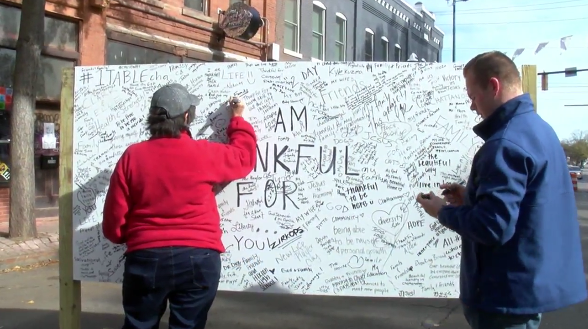 The event featured a wall of handwritten messages saying where people could share what they are thankful for. (Image: WTVC)<p></p>