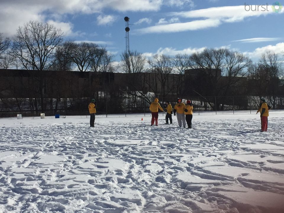 A little snow won't stop these guys from participating in the 72nd annual Fingerbowl flag football game in Flint. (Photo Credit: Sarah White){&amp;nbsp;}<p></p>