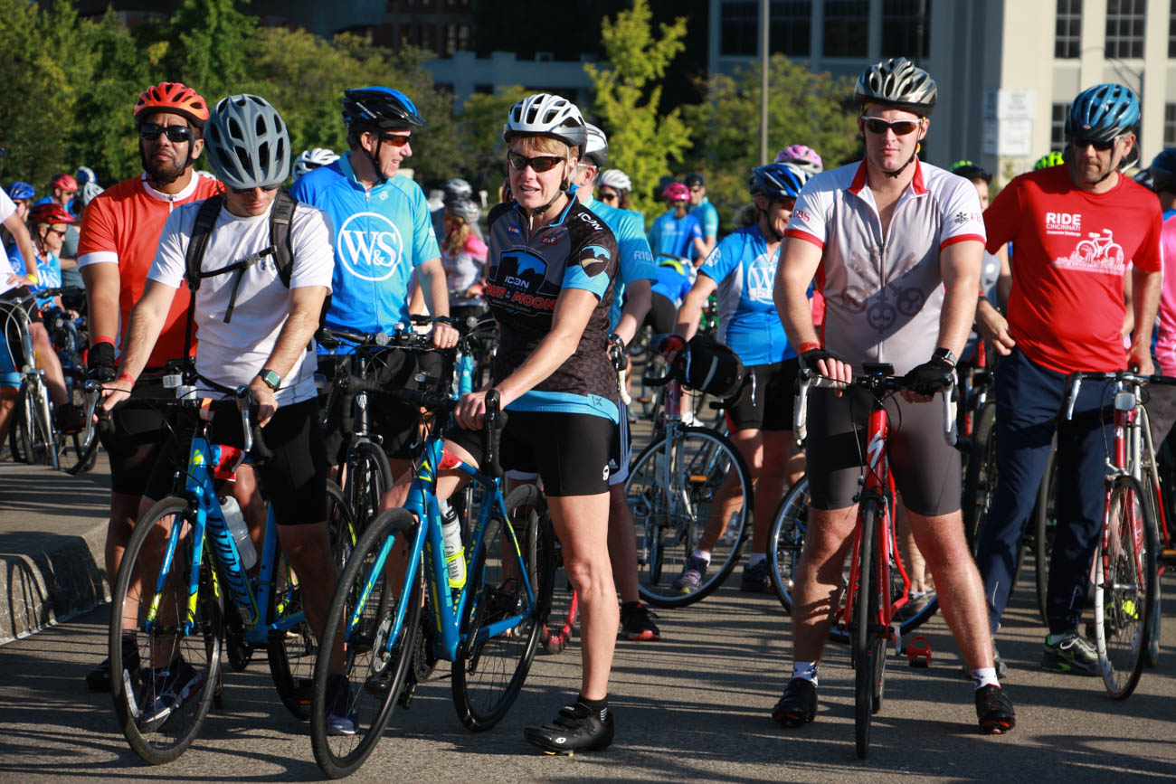 Ride Cincinnati celebrated a weekend of cycling with the mission of raising money to defeat cancer on September 14-15. The Kickoff Party was held at Top of the Park at The Phelps on Saturday, September 14, where participants enjoyed music, food, and drinks while picking up their credentials. On Sunday, September 15, over 500 riders got together to start the ride Downtown where they could choose to ride anywhere from eight to 100 miles with a variety of riding routes. People could also participate virtually via Peloton stationary bikes. The day ended at Yeatman's Cove to celebrate the cyclers. / Image: Dr. Richard Sanders // Published: 9.16.19caption (change all selected)