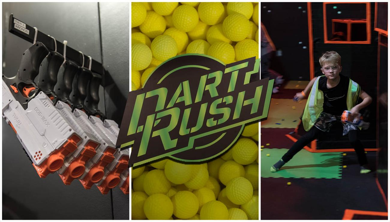 Dart Rush is an indoor Nerf arena fit for ages 6 and up. Located at Newport on the Levee in Kentucky, visitors bring their own Nerf blasters or are supplied ones before getting into the arena with friends. All Nerf ammo is supplied by Dart Rush so there's no worry about losing personal property. Birthday parties are a big feature of the business. ADDRESS: 1 Levee Way #2109, Newport, KY 41071 / Image: Mike Menke // Published: 3.9.18