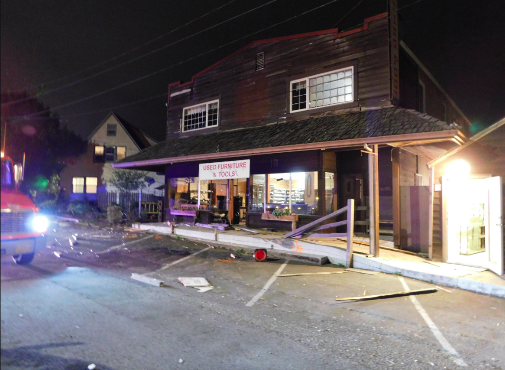 At approximately 9:40 p.m. on Hwy 101, a Jeep driven by George Reese, 73, was traveling north when it left the roadway and struck a business and a residence before coming to a stop.{ }