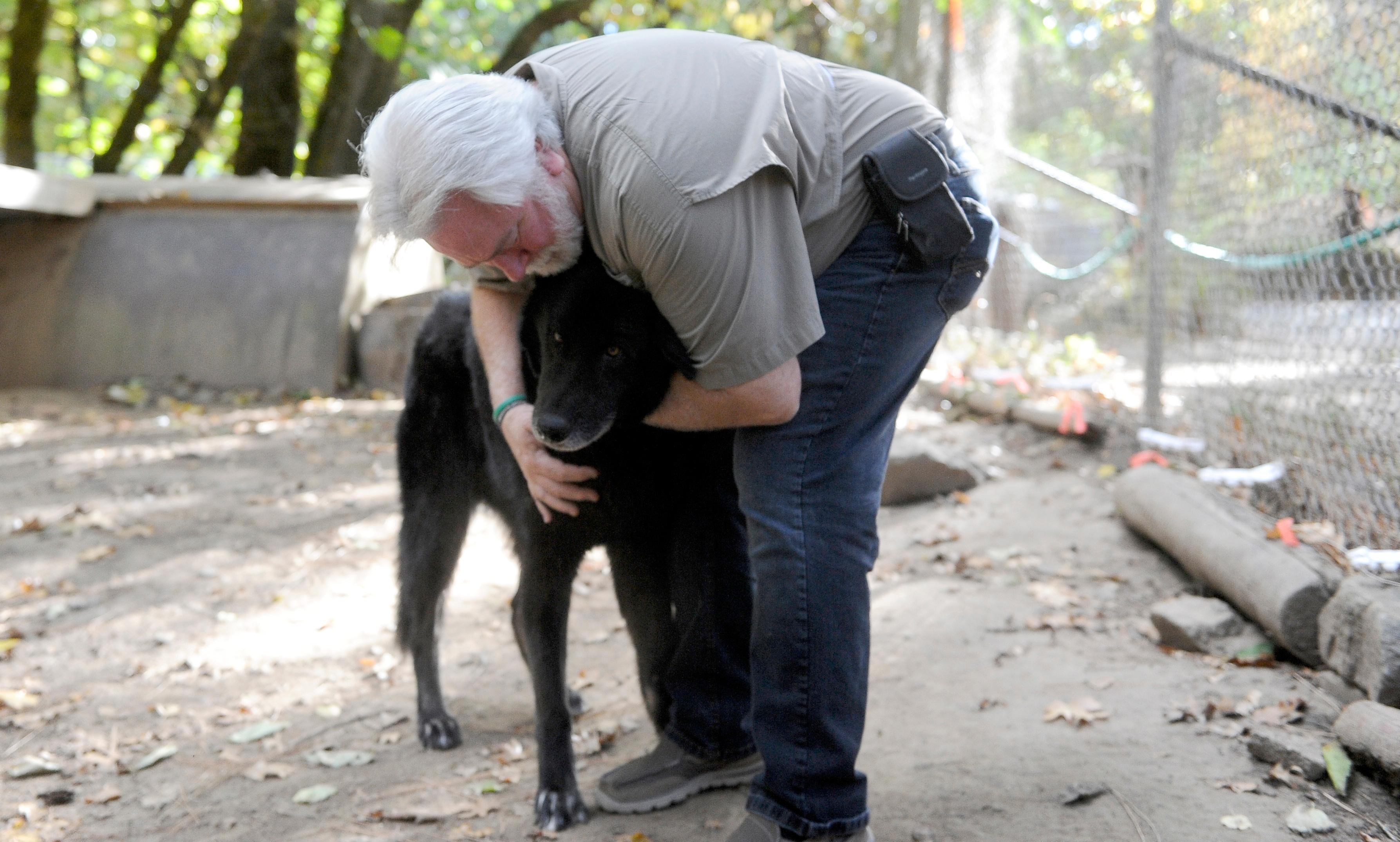 Andy Atkinson / Mail Tribune{ } Dave Siddon hugs Argo the grey wolf at Wildlife Images.
