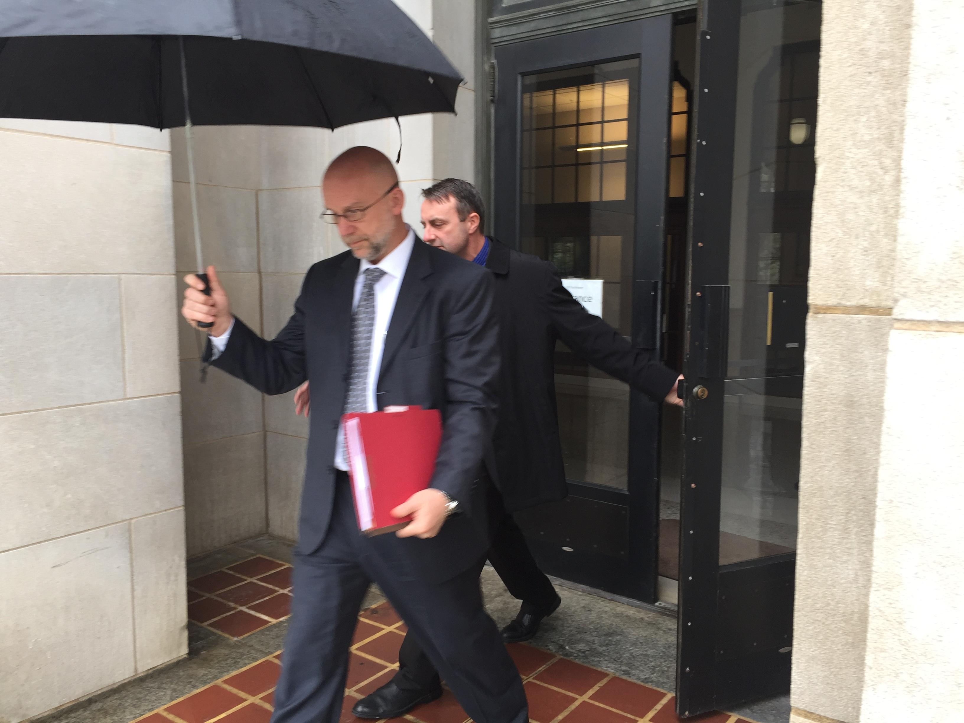 Michael Greene leaving federal court on Monday, April 23, 2018.{ } (Photo credit: WLOS Staff)