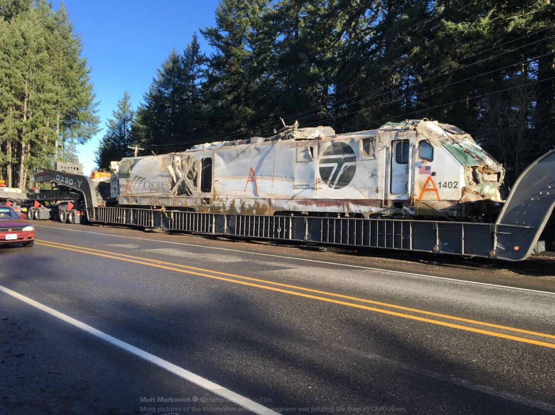 Photos show damage to the Amtrak locomotive. (Photo: KOMO News)