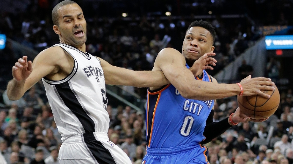 Westbrook Leads Thunder Past Spurs 95 91 For 3 2 Lead Kokh
