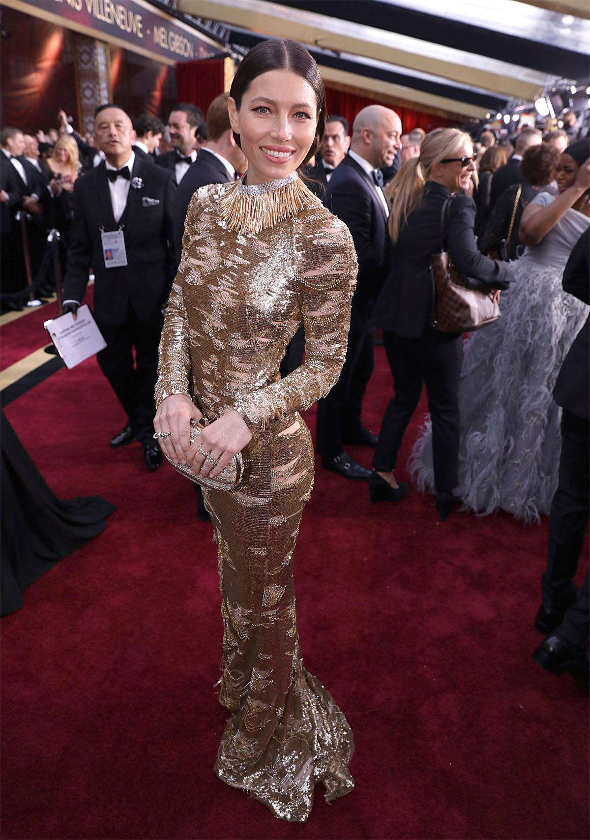 Jessica Biel arrives at the Oscars on Sunday, Feb. 26, 2017, at the Dolby Theatre in Los Angeles. (Photo by Matt Sayles/Invision/AP)