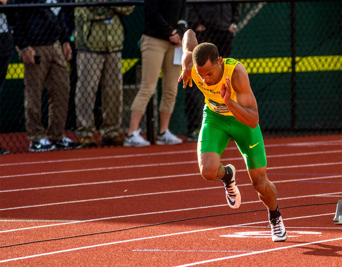 UO Duck's Marcus Chambers kicks off the blocks in the 400 meter dash. Chambers placed fourth with a time of 45.27. Photo by August Frank, Oregon News Lab