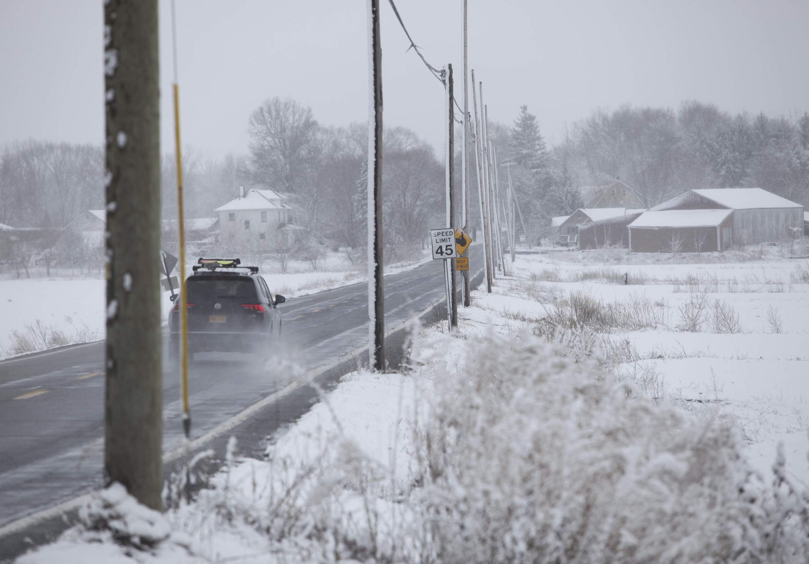 A car travels Wednesday morning on Pulaski Highway in Pine Island, NY. ELAINE A. RUXTON/TIMES HERALD-RECORD