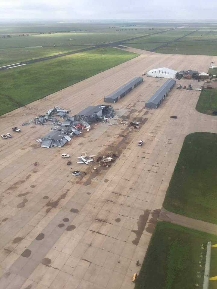 An aerial photo shows the amount of damage done to the Dalhart Airport following severe storms Sunday night. (Photo courtesy of Randy White)