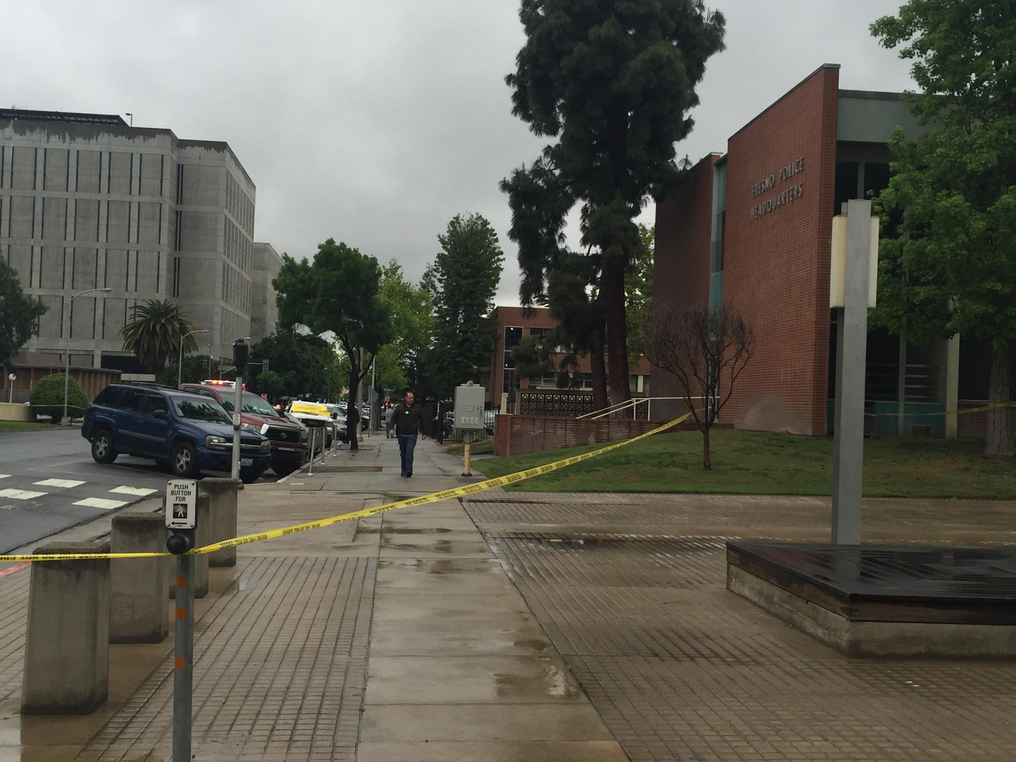Police investigation outside Fresno Police Headquarters in downtown Fresno (Fox26)