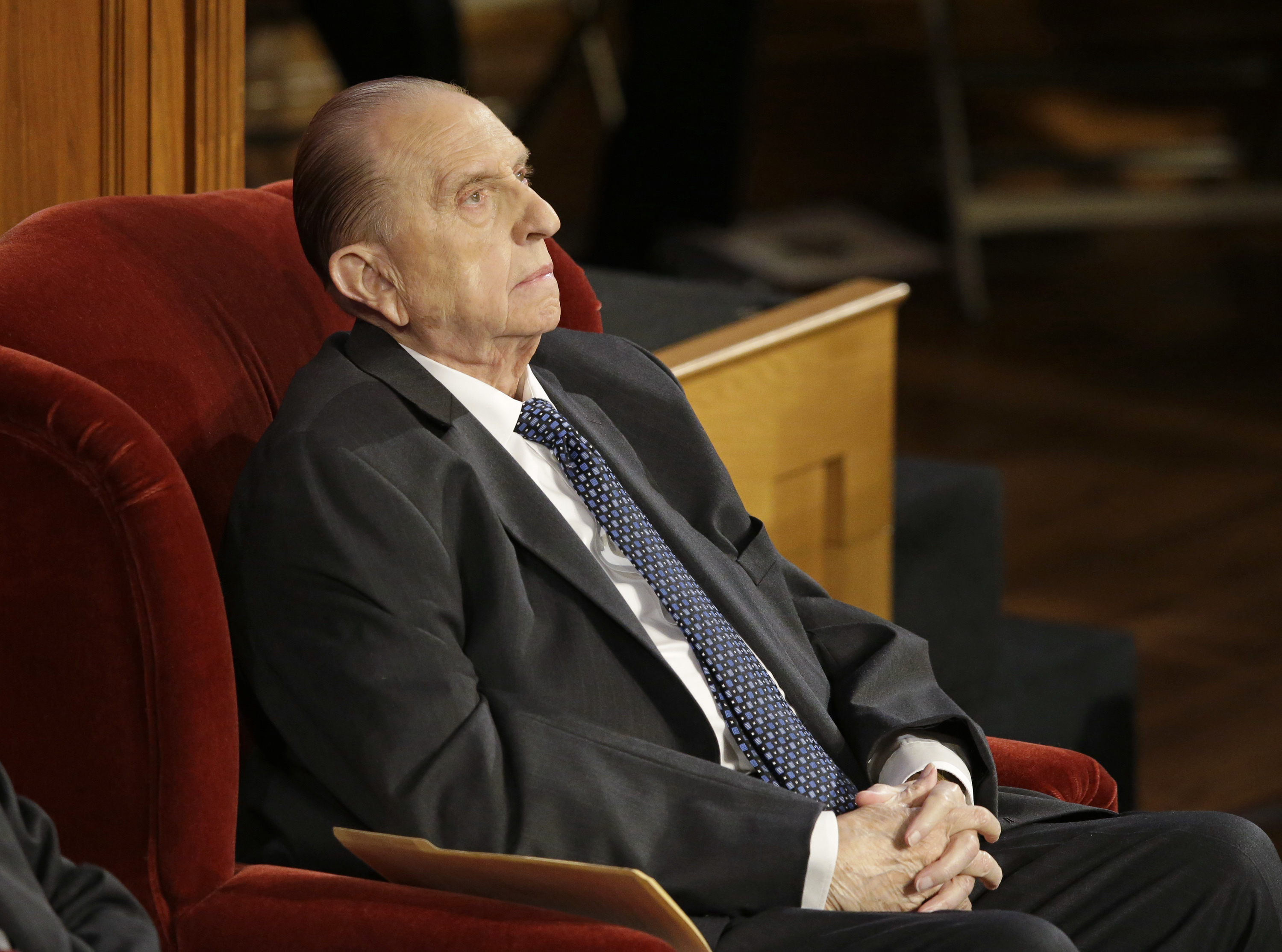 FILE - In this July 10, 2015, file photo, shows President Thomas S. Monson, of The Church of Jesus Christ of Latter-day Saints, attends the memorial service for Mormon leader Boyd K. Packer at the Tabernacle, on Temple Square, in Salt Lake City. Monson, the 16th president of the Mormon church, died Tuesday, Jan. 2, 2018, after nine years in office. He was 90. (AP Photo/Rick Bowmer, File)