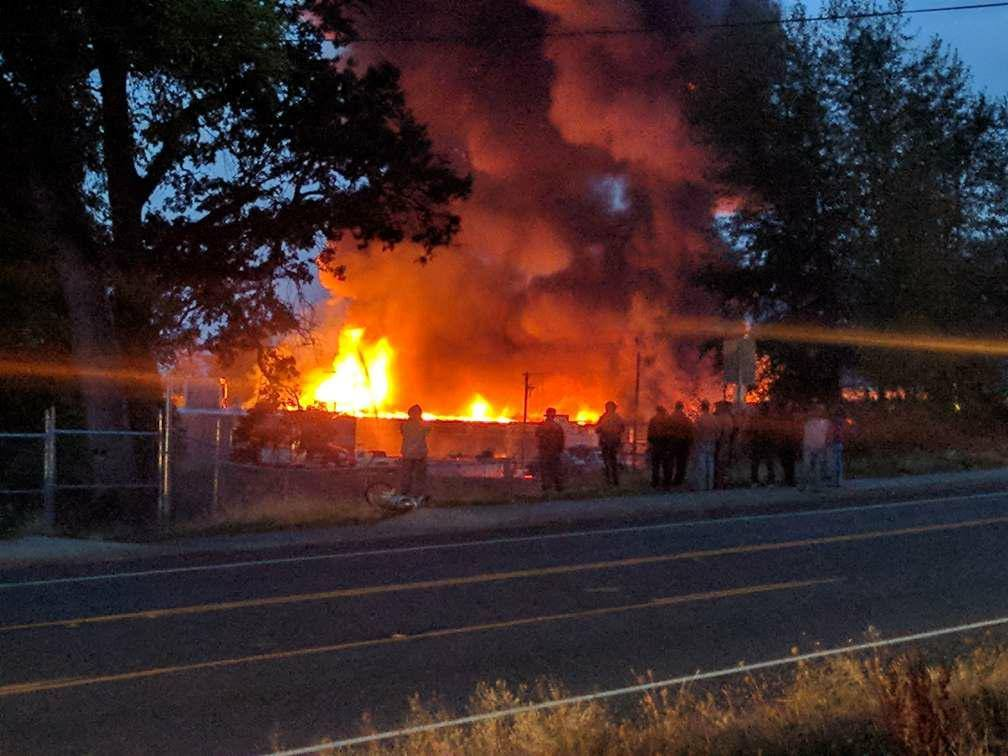 Underwood Fruit and Warehouse in Bingen, Wash. caught fire on Wednesday, Oct. 18, 2017. Photo courtesy Mike Goertler