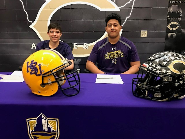 Clyde's Bradlee Leverich and Miguel Valdez signed with Hardin-Simmons for football.<p></p>