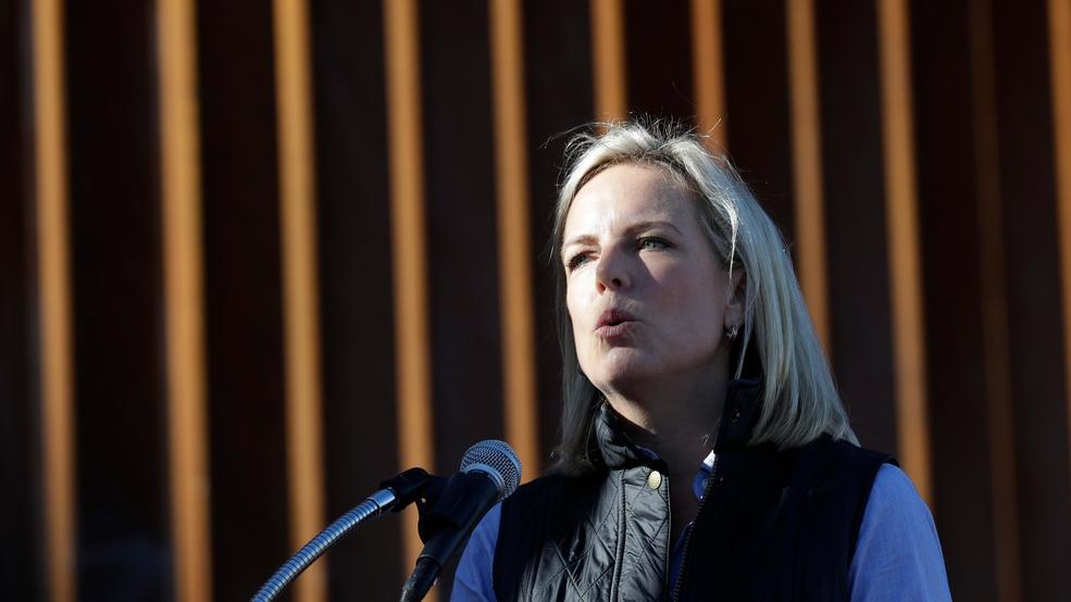 file in this oct 26 2018 file photo us department of homeland security secretary kirstjen nielsen speaks in front of a newly fortified border wall