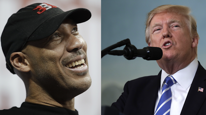 LaVar Ball and President Trump. (Left: AP Photo/John Locher, Right: AP Photo/Evan Vucci)