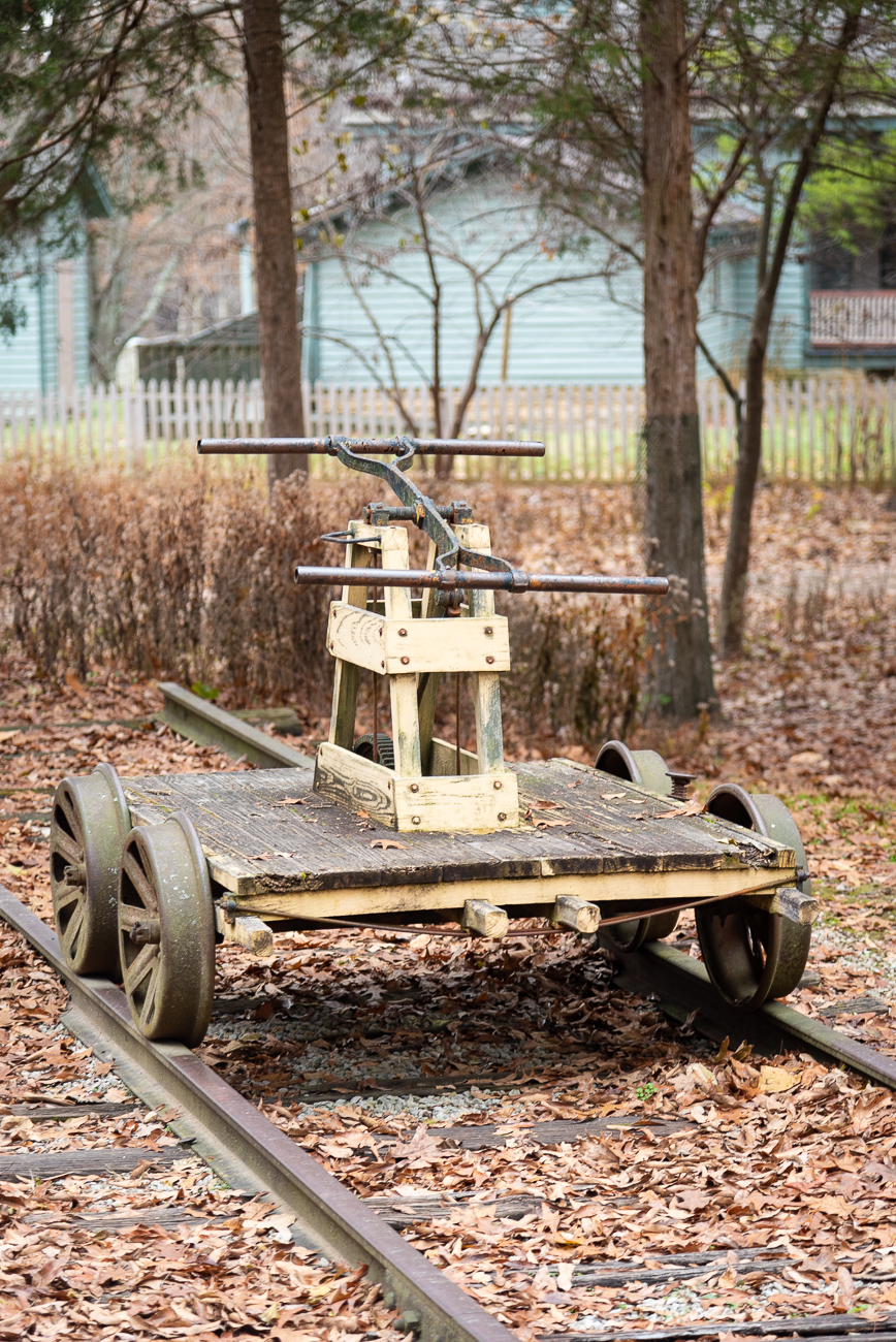 An old cart outside of Chester Station sits on a rail.{ }/ Image: Phil Armstrong, Cincinnati Refined // Published: 12.5.19