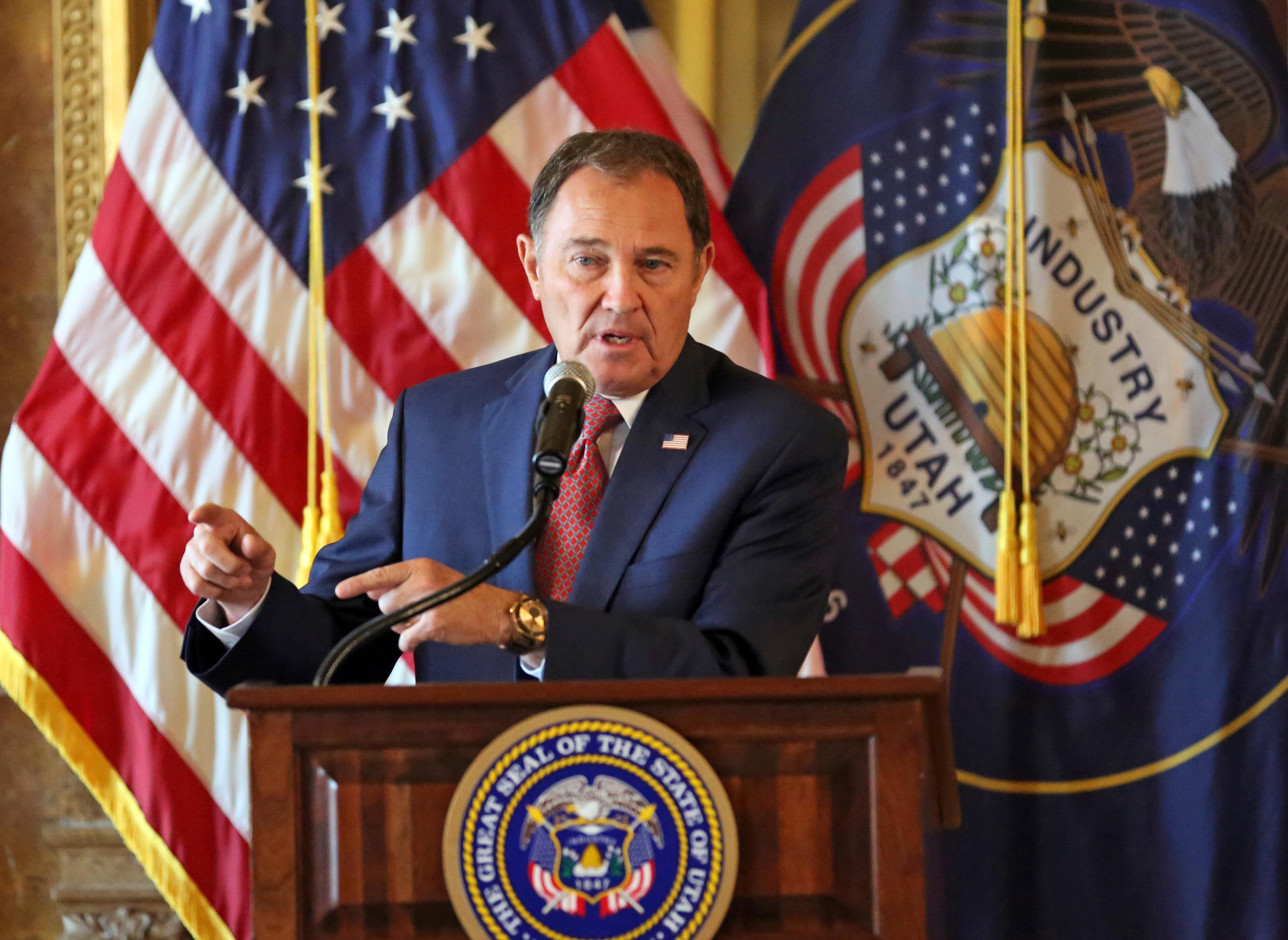 "FILE - In this Sept. 12, 2018, file photo, Utah Gov. Gary Herbert speaks during a news conference at the Utah State Capitol, in Salt Lake City. Herbert says he backs a state legislative push to ban some types of gay conversion therapy that he called ""barbaric"" but added that defining what constitutes conversion therapy is key. (AP Photo/Rick Bowmer, File)"