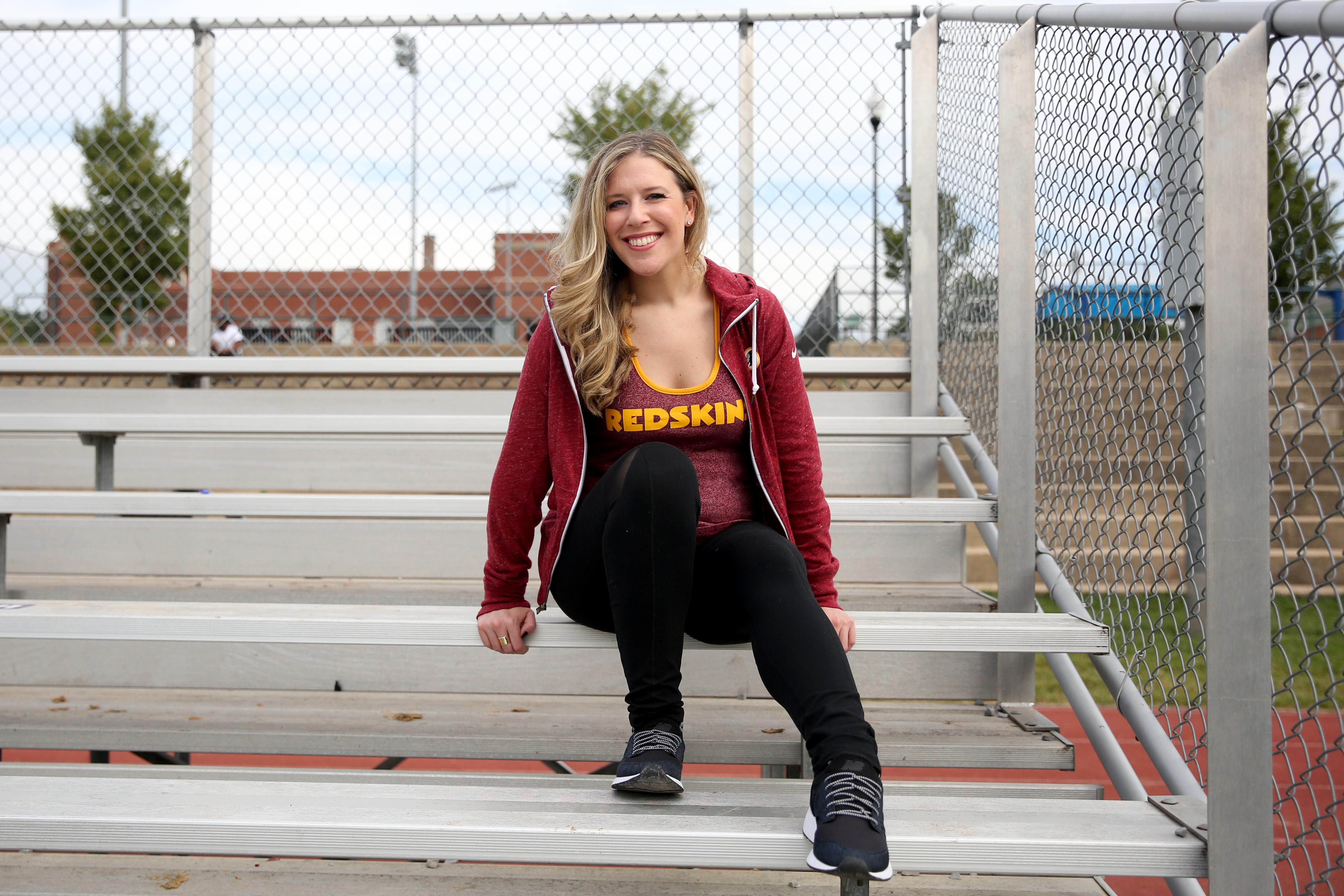 Just wants to be comfortable: A soft redskins racerback tank with its cheerleader sexy vibe gets the job done. Of course you can add a burgundy zip-up if it gets a bit chilly, or you just need to cover up. (Image: Amanda Andrade-Rhoades/ DC Refined)