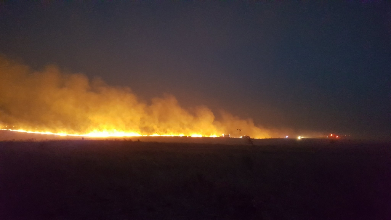 A grass fire burns March 7 in Harper County, Oklahoma. (KOKH/Steven Anderson)