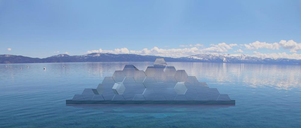 A conceptual rendering of the floating sculpture shows how it will look during the daytime.  (Courtesy: Tahoe Public Art)