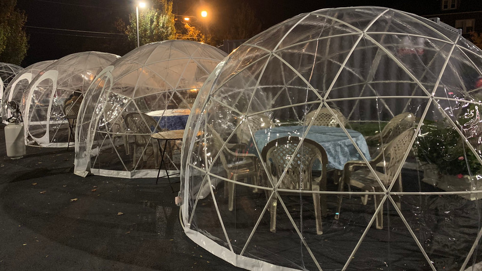 Rhode Island restaurant using 'igloos' for socially-distanced dining. (WJAR)