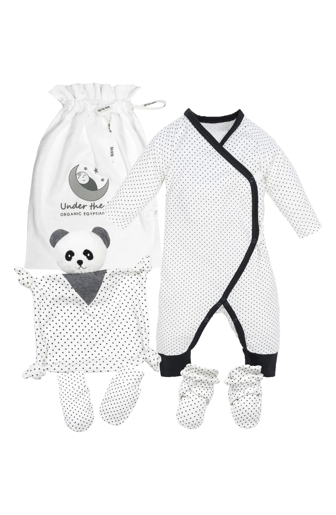 "<p>This sweet set crafted from organic Egyptian cotton includes a wrap romper, mittens, booties and lovie blanket to keep your little one cozy and happy. $85.{&nbsp;}<a  href=""https://shop.nordstrom.com/s/under-the-nile-polka-dot-panda-4-piece-organic-cotton-gift-set-baby/5480367/full?origin=category-personalizedsort&breadcrumb=Home%2FKids%2FBaby%2FUnisex%20Baby%20Clothing&color=black%20and%20white"" target=""_blank"" title=""https://shop.nordstrom.com/s/under-the-nile-polka-dot-panda-4-piece-organic-cotton-gift-set-baby/5480367/full?origin=category-personalizedsort&breadcrumb=Home%2FKids%2FBaby%2FUnisex%20Baby%20Clothing&color=black%20and%20white"">Shop it{&nbsp;}</a>(Image: Nordstrom){&nbsp;}</p>"