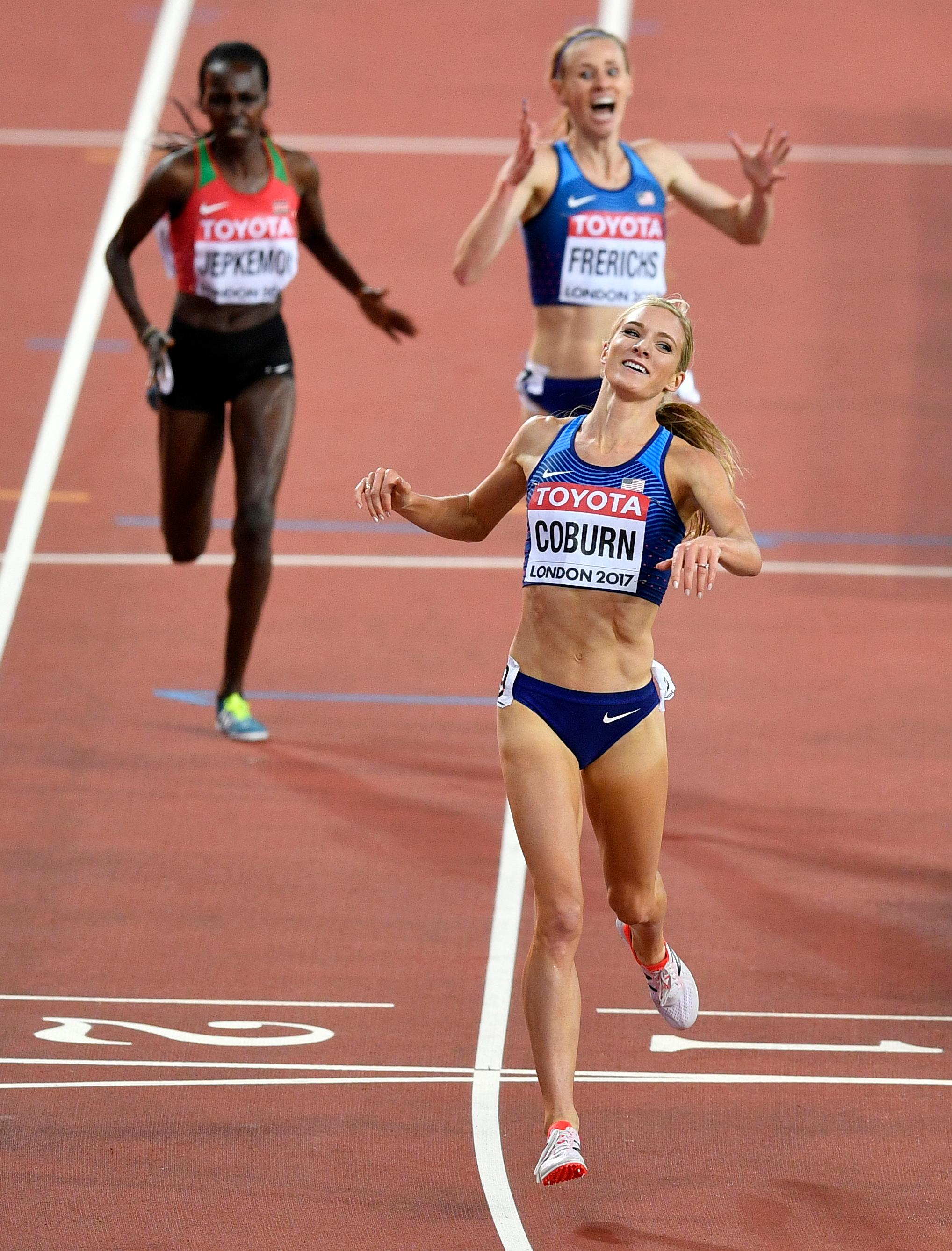 United States' Emma Coburn celebrates as she wins the Women's 3000 meters steeplechase final at the World Athletics Championships in London Friday, Aug. 11, 2017. (AP Photo/Martin Meissner)