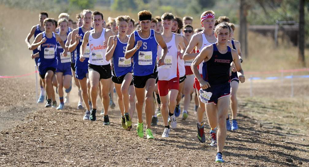 Rogue XC Invite at Colver Sports Fields in Talent 9-23-17. Varsity Boys Race - Andy Atkinson