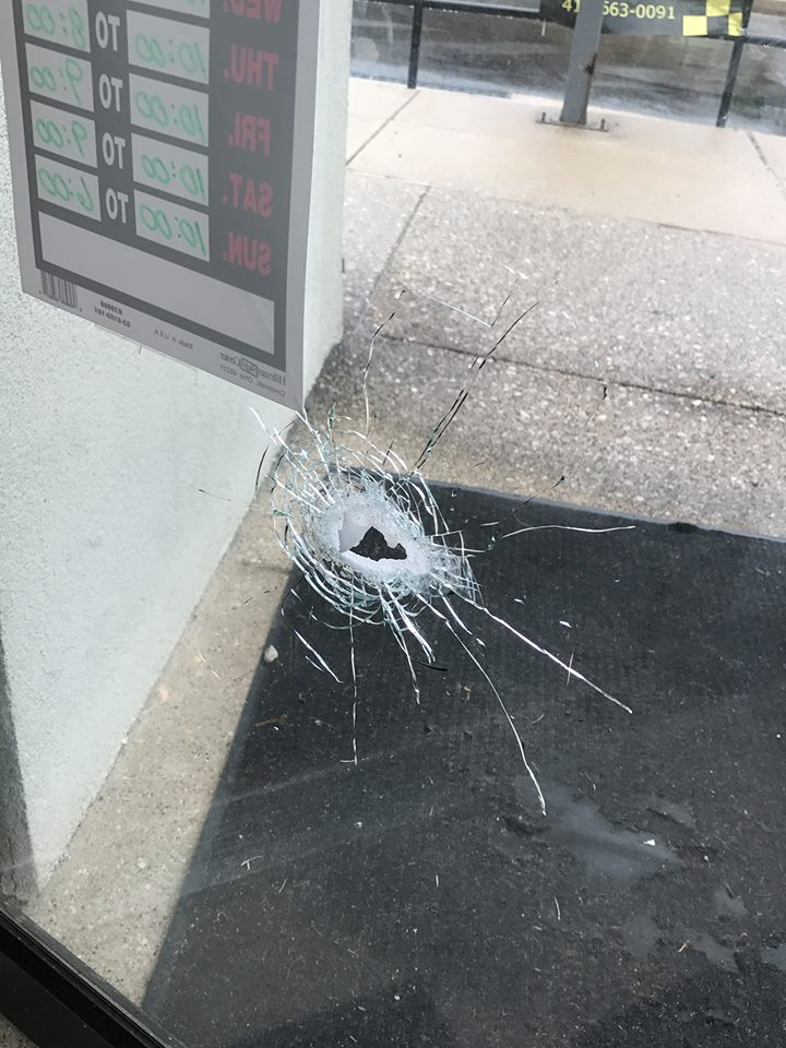 Several rounds of gunfire strike, damage Parkville business (Courtesy: B&B's Vape Cafe)