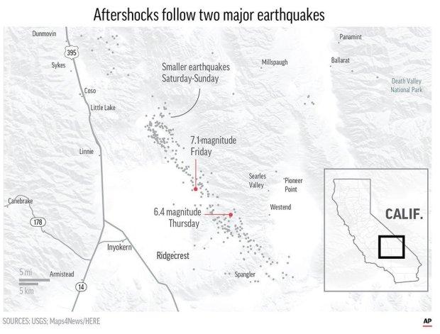 Scores of aftershocks have followed two major earthquakes have struck in Southern California; APCredit: ASSOCIATED PRESS