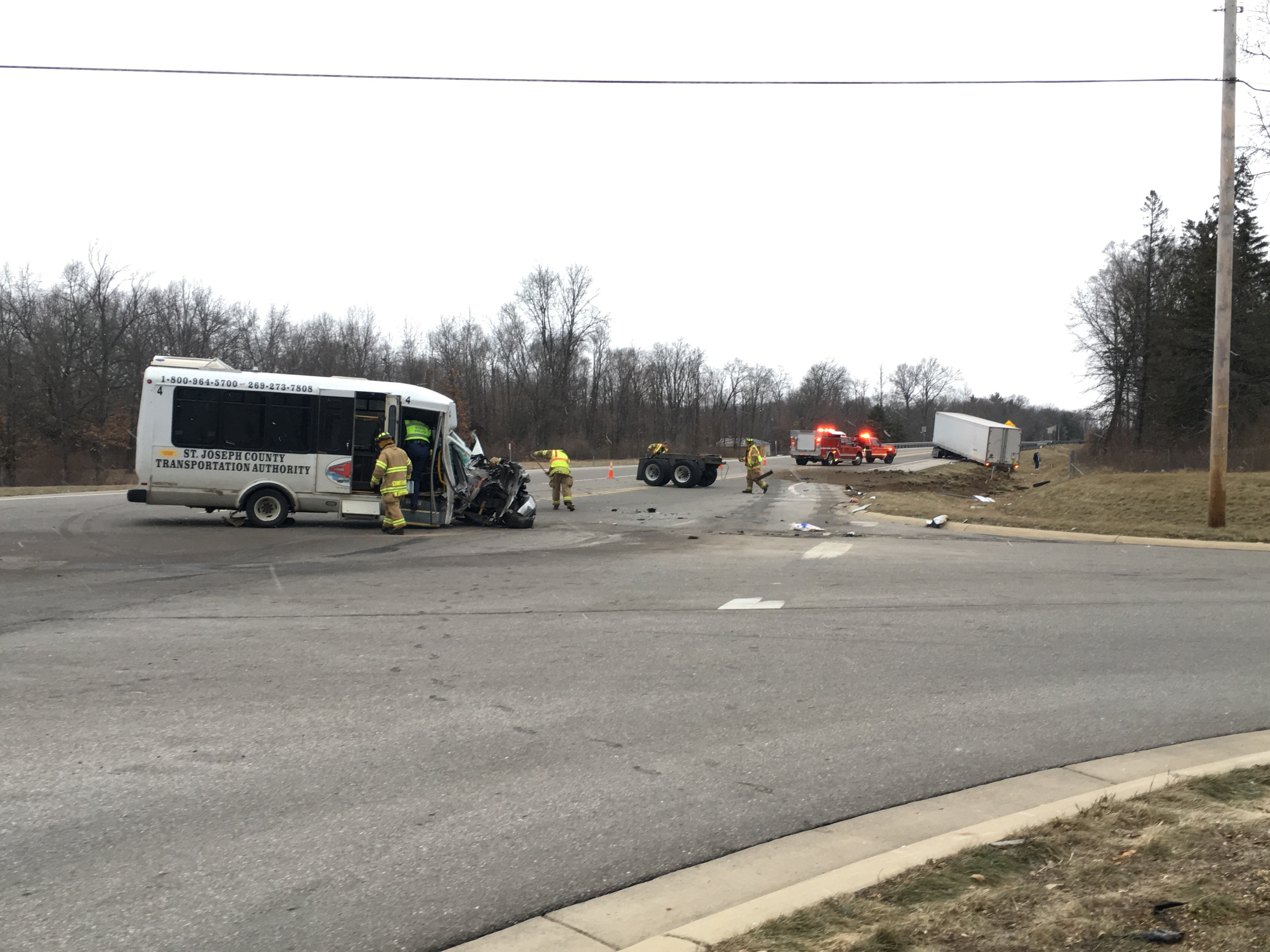 A bus and semi collided Monday morning in Constantine. (WWMT/Jake Berent)