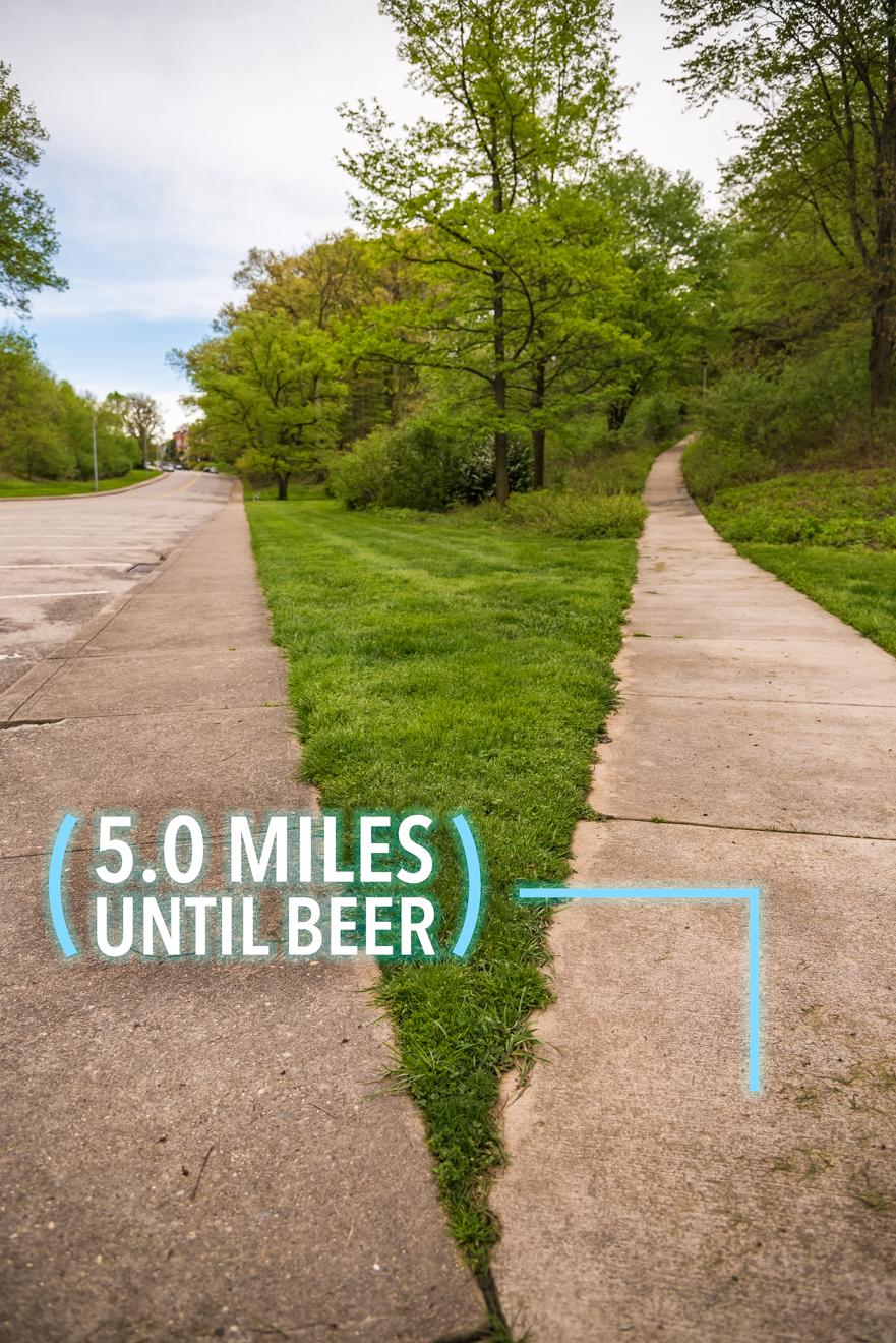 When you reach the roundabout, head north onto Fulton Avenue and find this split in the sidewalk on the right side of the street. Take the path on the right up the hill. / Image: Phil Armstrong, Cincinnati Refined // Published: 4.25.17