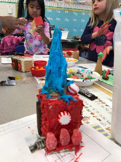 Kindergartners in Ms. Haney's class at Hall Fletcher Elementary School are learning about communities by building their own gingerbread community. (Photo credit: WLOS Staff)